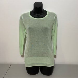 Banana Republic Green See Through Long Sleeve Top
